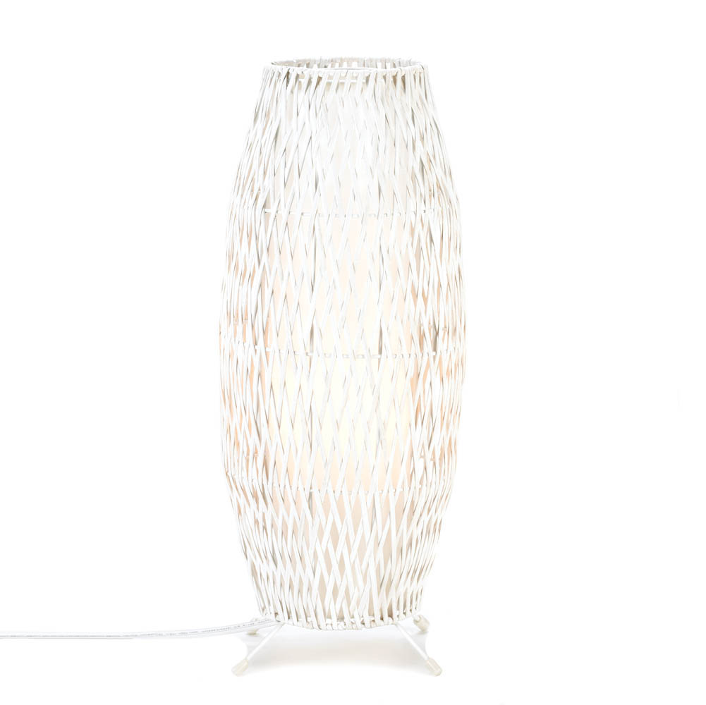 WHITE WOVEN TABLE LAMP