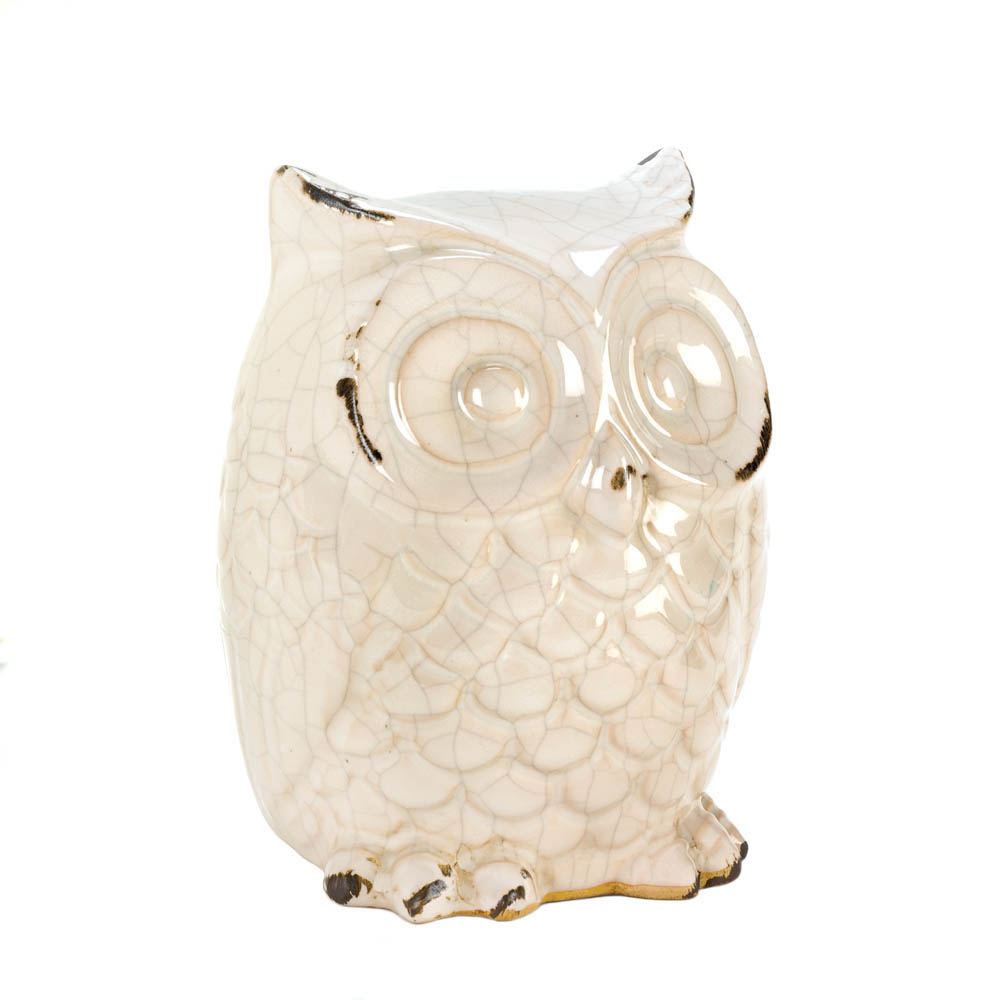 DISTRESSED WHITE OWL FIGURINE