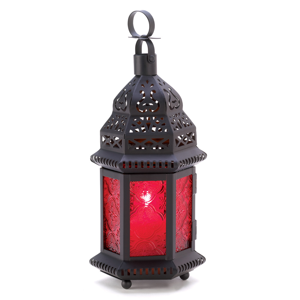 RED GLASS MOROCCAN STYLE LANTERN